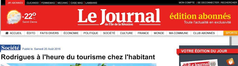 Article Journal de l'île de la Réunion
