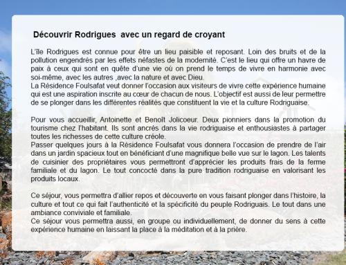 Découvrir Rodrigues… Avec un regard de croyant.